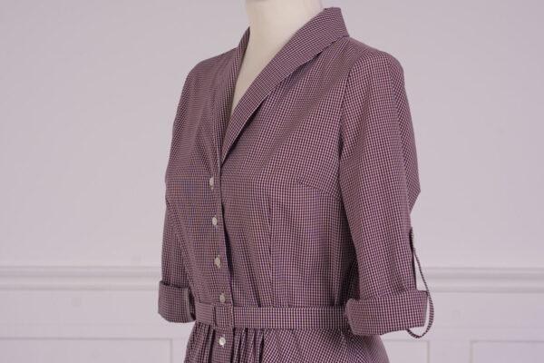 z kolekcji MID-SPRING 2021, szyta z bawełny, w bordową kratę